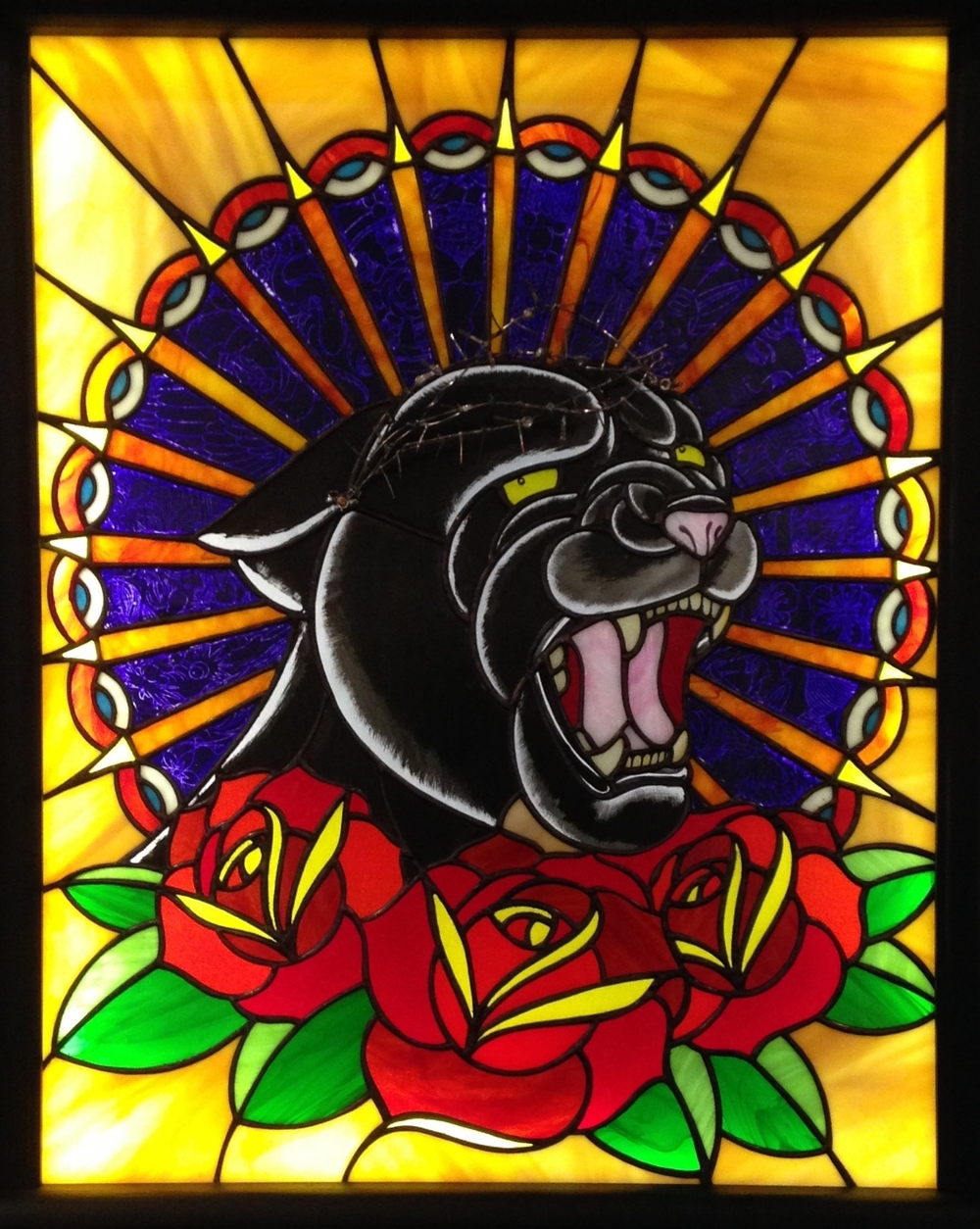 """PANZERCHRIST"" 23""X29"" (SIZE OF GLASS ONLY) Foiled stained glass, kiln fired glass paint, Thermofax stencils, LED lights, tattoo needles $3250"