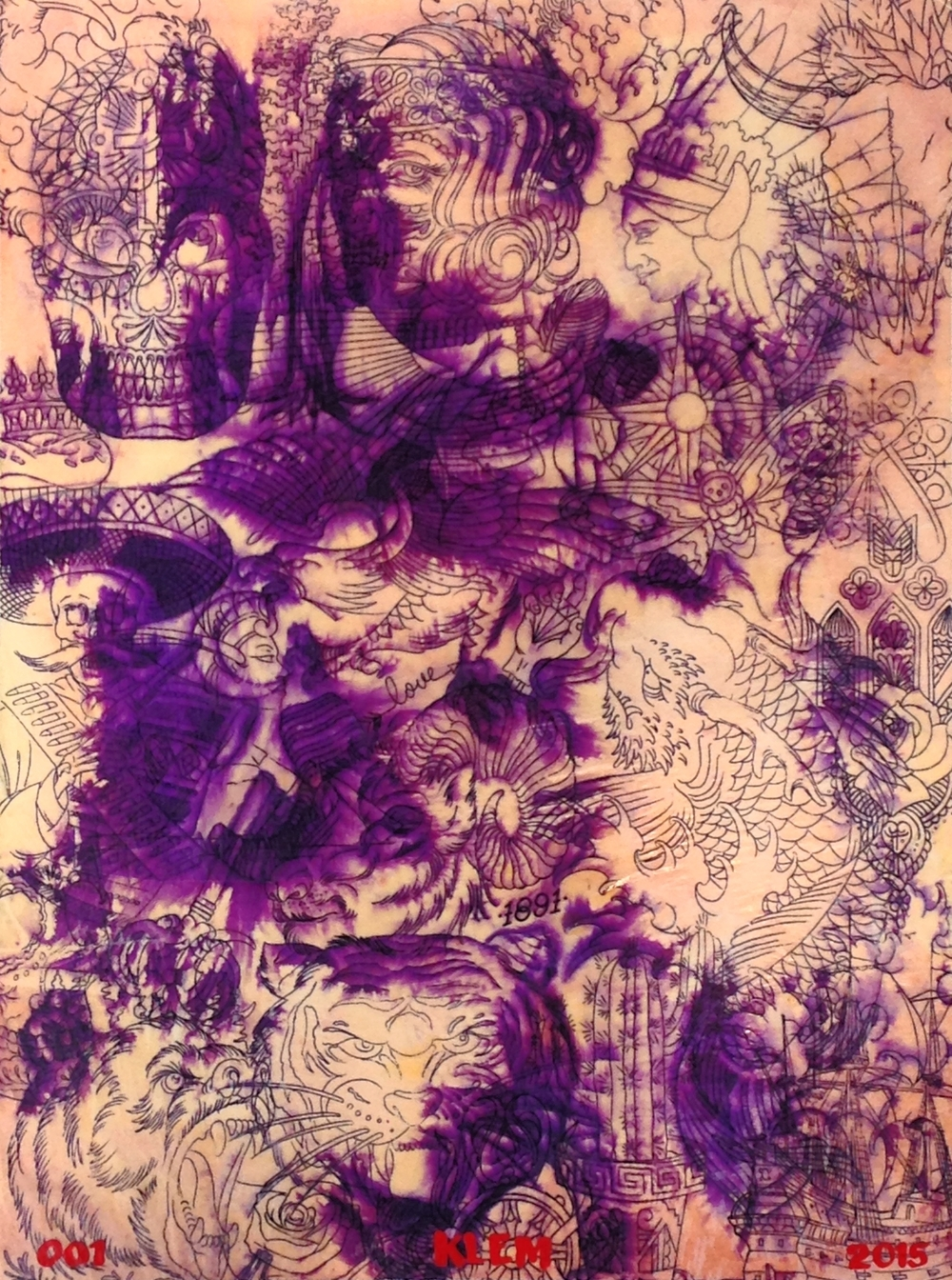"""PURPLE FINGERS 001""  18""X24"" Thermofax stencils on board   $500"
