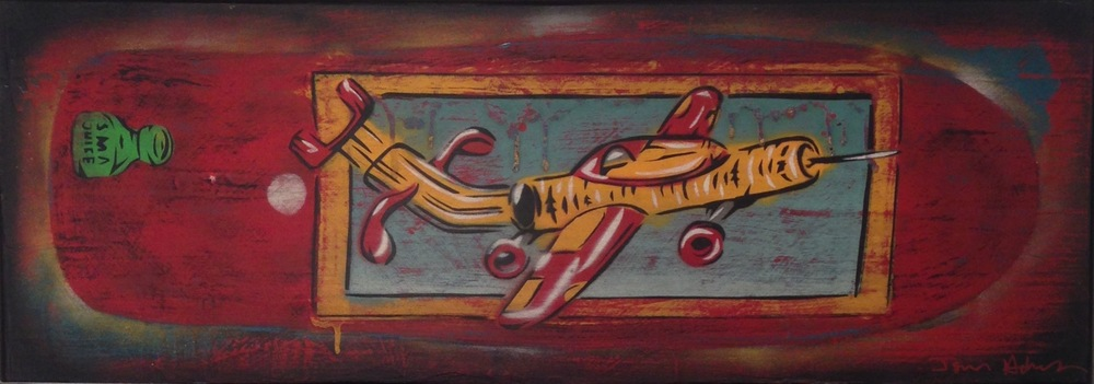 """Julien"" 11""x30"" stencil, aerosol, latex paint on wood panel $450"