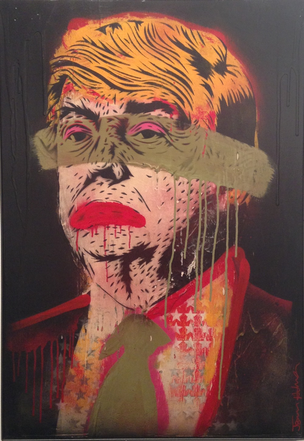 """Ronald the Donald"" 24""x30"" stencil, aerosol, latex paint on wood panel $700"
