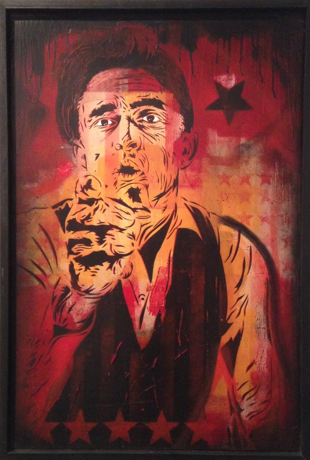 """Johnny Cash"" 24""x36"" stencil, aerosol, latex paint on wood panel $675"