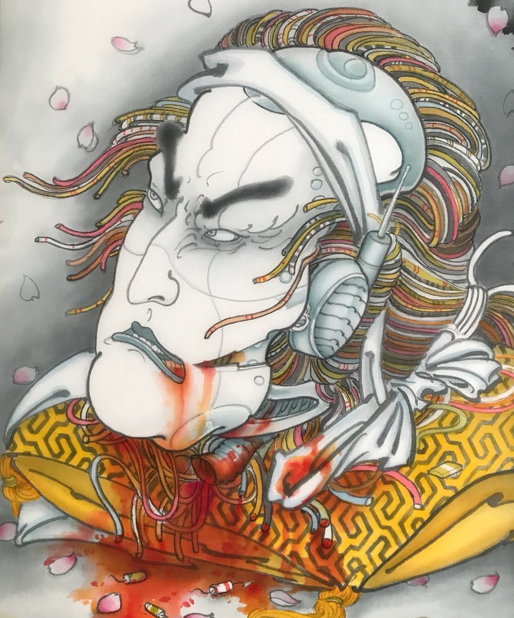 - Mike Dorsey. Cincinnati Ohio based tattooer who's works are heavily based on ukiyo-e imagery incorporating modern themes with a tongue & cheek approach. Painting in silk paint on paper & silk.