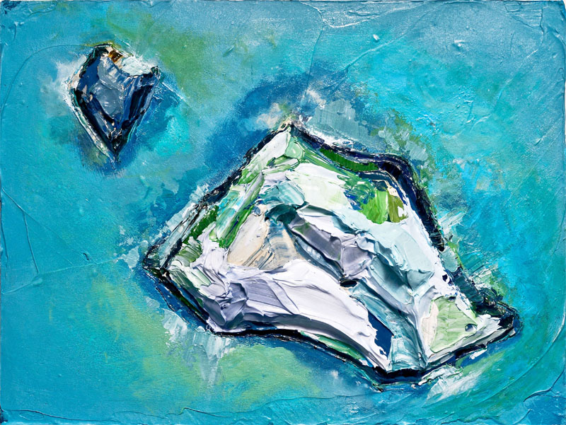 "Virginia Katz Melt Water (2012, 16x12"" mixed media, mixed process on panel)"