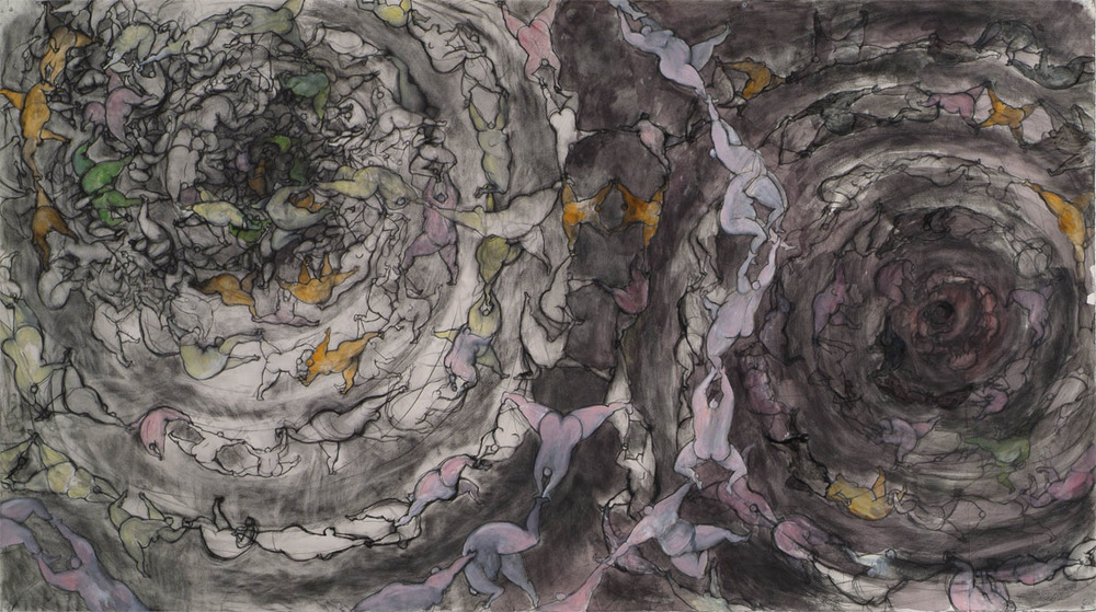 "Tomoko Suzuki-Meier ""Muddy Pond"" 2010 Mixed media on paper, 73"" x 49.5"""