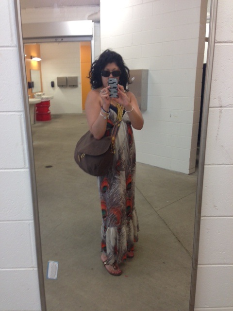 My choice of Festival Wear: Peacock Dress from Langford Market, bag from a Milwaukee boutique, Sandals from White Mountain, Amazon.com