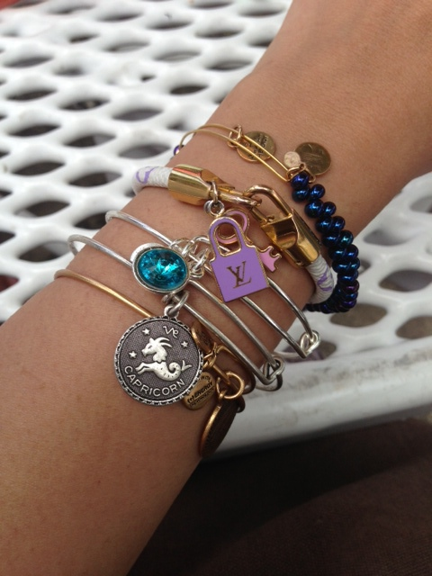 Arm party. All bracelets are from Alex and Ani, except for LV Multicolor Charm one.