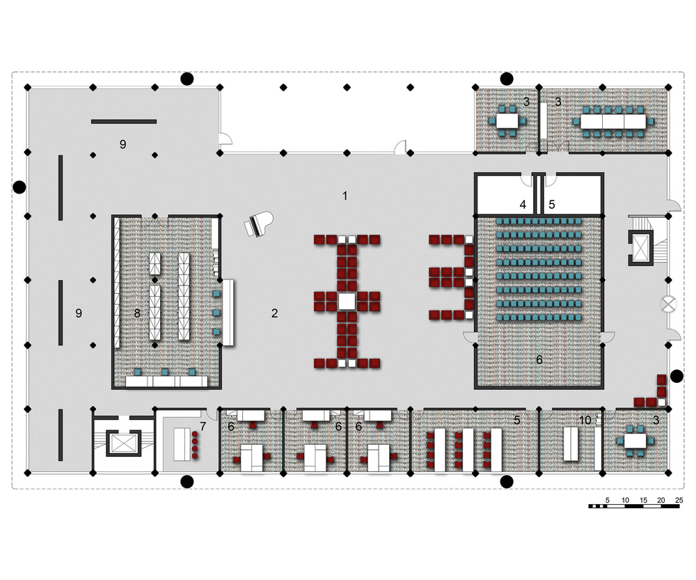 Ground Level Floor Plan   1.Main Entry   2.Reception   3.Conference Room   4.Mens' Restroom   5.Womens' Restroom   6.Presentaion Room   6A.Accounting and Marketing   7.Kitchenette   8.Filing and Nurses Station   9.Gallery   10.Copy Room
