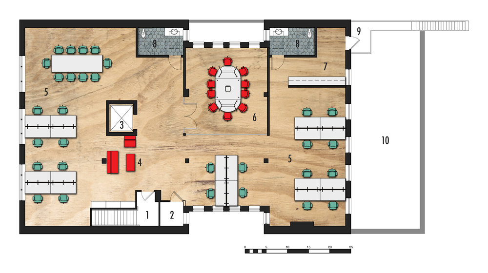 Second Level Floor Plan   1. Existing Stair  2.Existing HVAC  3.Existing Elevator  4.Casual Seating  5.Workspace  6.Conference Room  7.Kitchenette  8.ADA Bathroom  9.Rear Exterior Stair  10.Roof Below