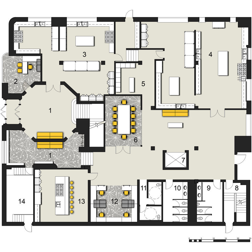 1.Lobby 2.Director's Office3.Shared Kitchen  4.Lockers  5.Lockers6.Conference Room7.Elevator8.Fire Stair  9.Men's Room  10.Women's Restroom  11.ADA Restrooms  12.Workstations  13.Teaching Kitchen  14.Storage