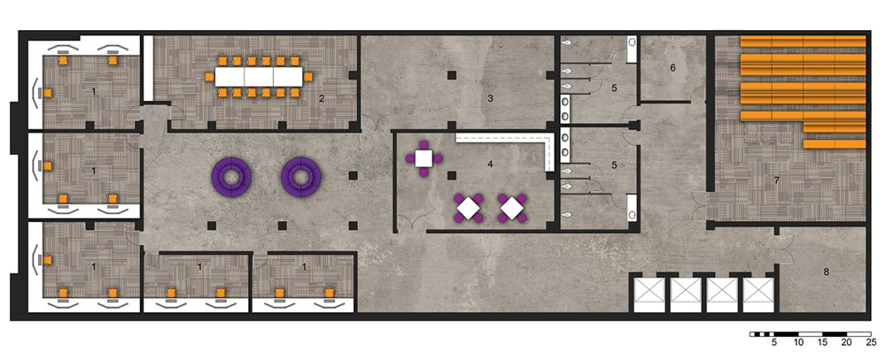 Lower Level Floor Plan   1.Workspace   2.Conference Room   3.Photography Studio   4.Kitchenette   5.Restrooms   6.Control Room/Storage   7.Theater   8.Fire Stair