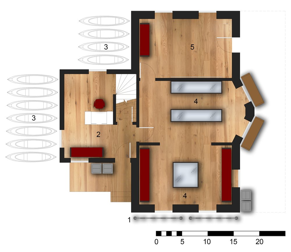 Ground Floor Plan 1.Bicycle Racks 2.Information Desk & Rentals  3.Kayak Storage  4.Museum  5.Secondary Entry