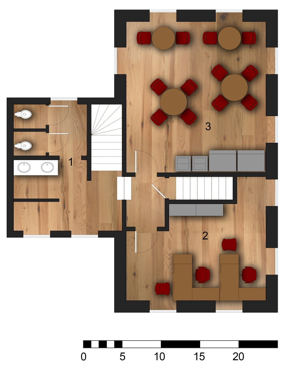 Second Floor Plan 1.Restrooms   2.Office  3.Casual Dining Room