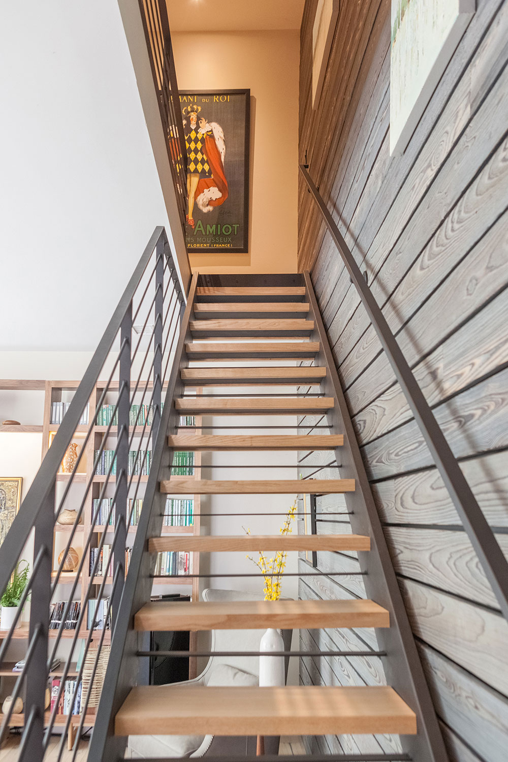 Modern Stair with Accent Wall