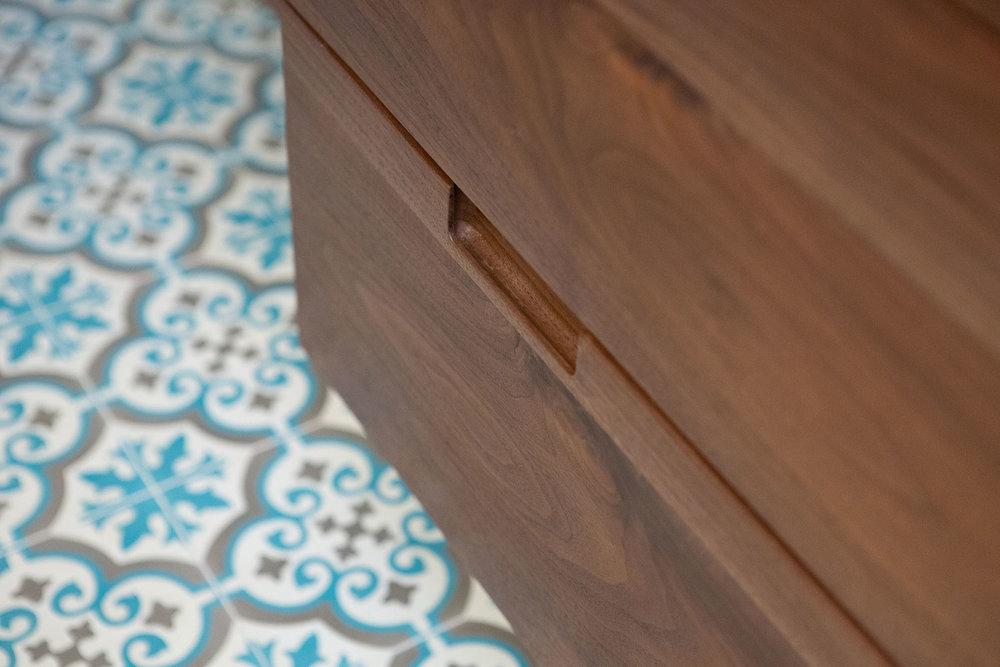 Custom Walnut Vanity Detail