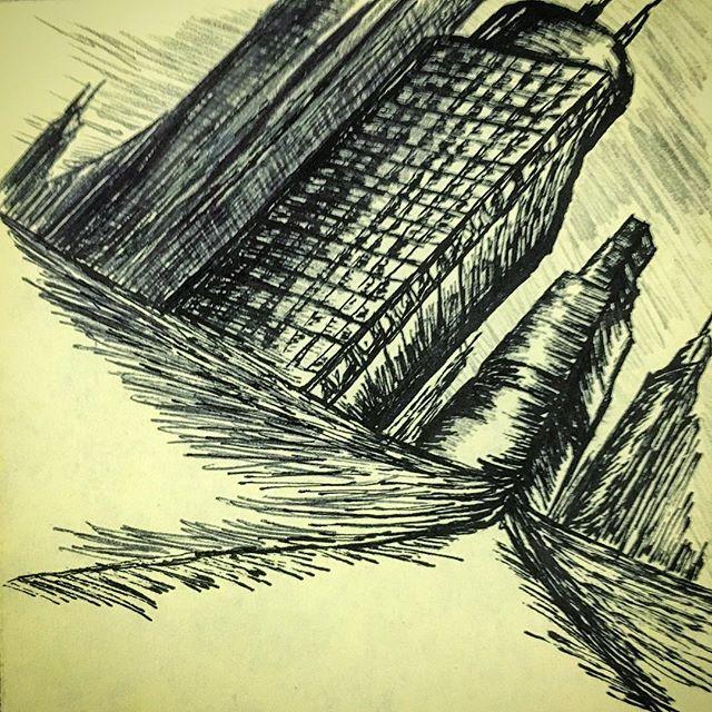 Cityscape  #postitpic #still #city #skyscraper #sketch #art #ink #pen #pencil #mixedmedia