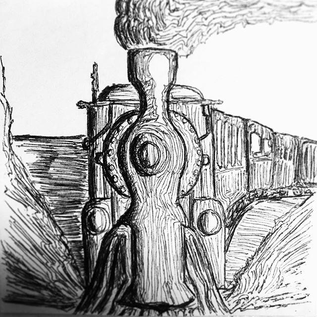 Iron Horse  #postitpic #blackandwhite #western #train #art #sketch #pen #ink