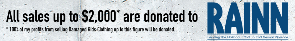 DAMAGED KIDS CLOTHING RAINN DONATION BANNER