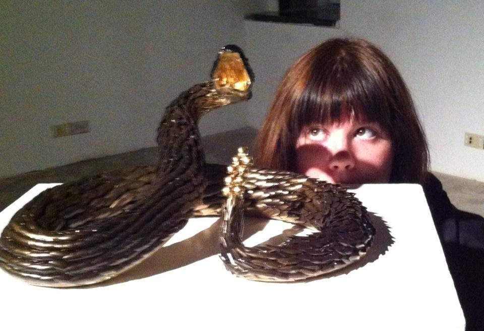 College Lauren pursuing her Fake Fingernail Rattlesnake Taxidermy Dream