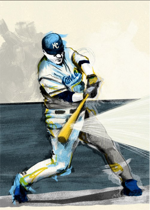 Incidentally, I have a portrait of Billy Butler on the wall in my house, not being caught in a rundown. Illustration and print by John Holcomb