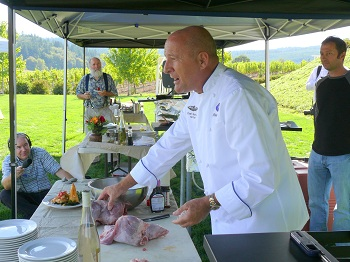 Chef Philippe Parola carving up the Nutria
