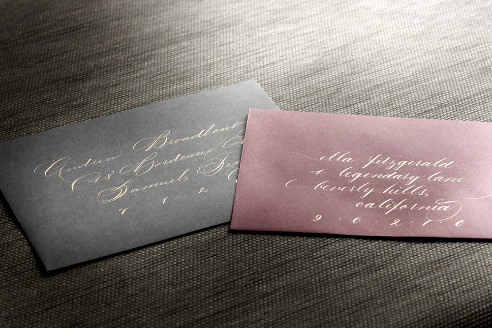 The envelope on the right is written in all lowercase Copperplate
