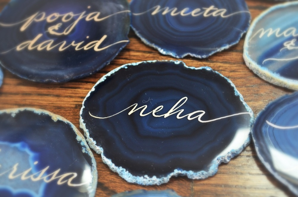 Blue Agate Stone Agate Stone Hand Lettering Calligraphy Escort Place Cards Houston Los Angeles New York Miami 1.JPG