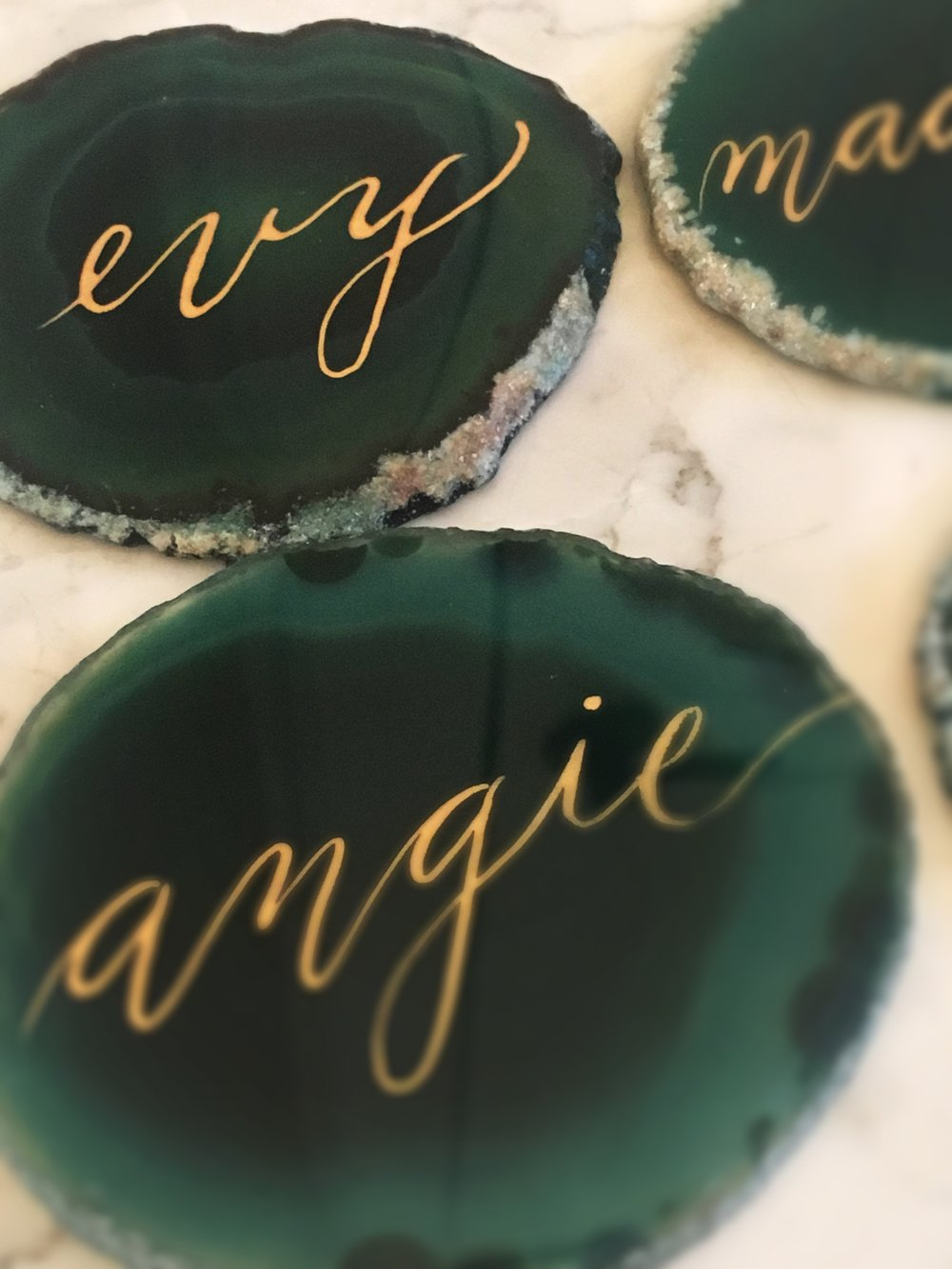 Green Agate Stone Calligraphy Houston Hand Lettering