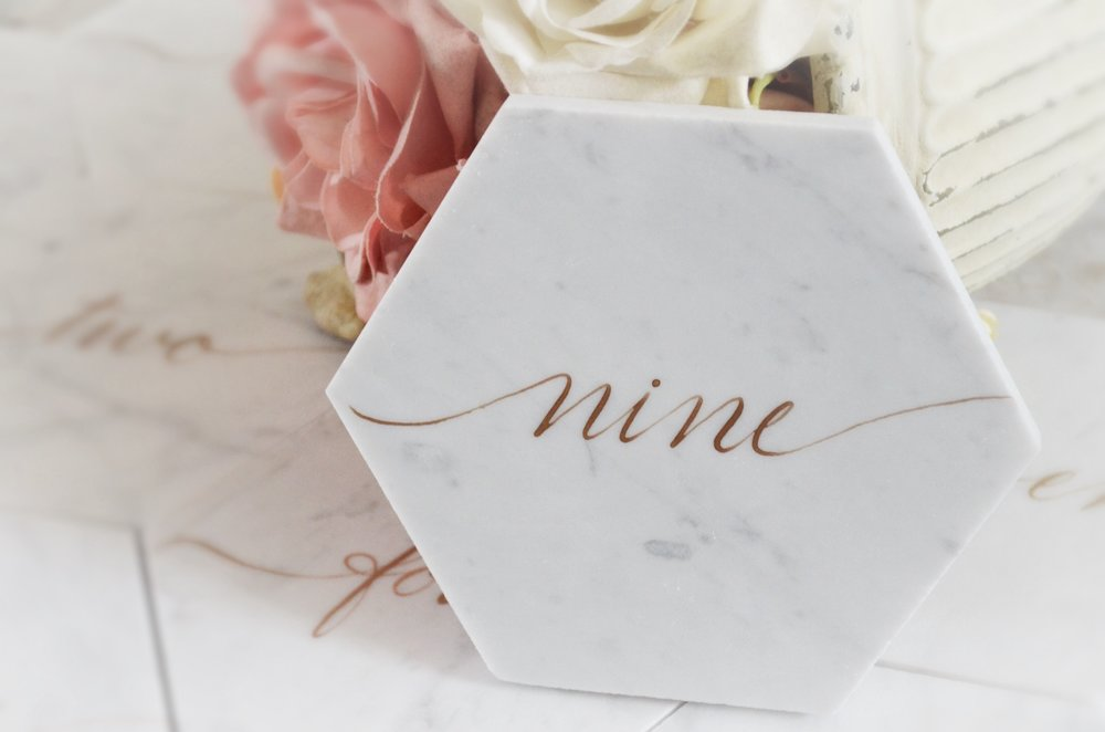 """6"""" Hexagon Marble Tile Table Numbers/Names - $10"""