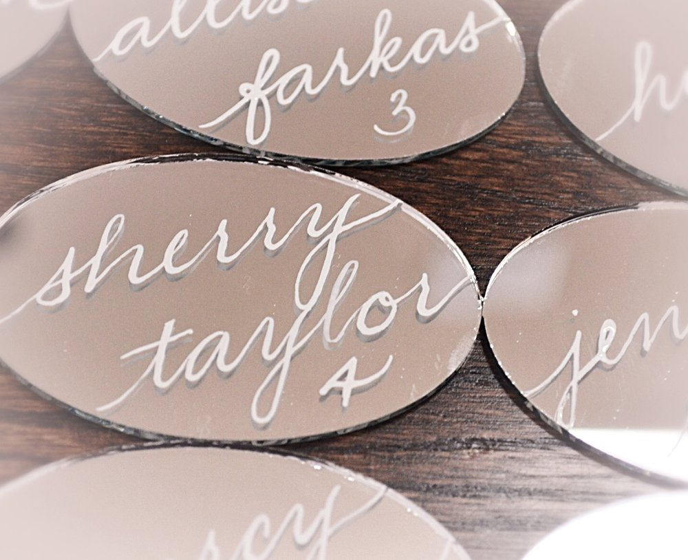 "Mirror Ovals (3""x2"") as place/escort cards - $3.75"
