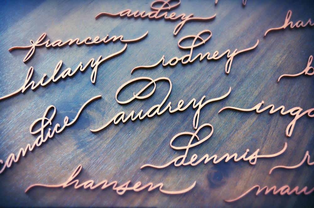 Laser cut names in wood - $11 each