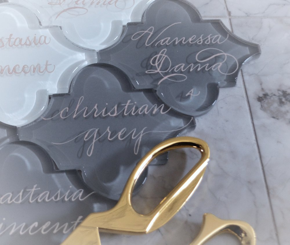 """Arabesque Shadow Tiles in Gray 4"""" - $4"""