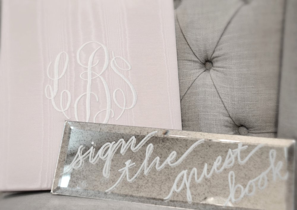 "Beveled Antiqued Mirror sign (4"" x 12"") - $18"