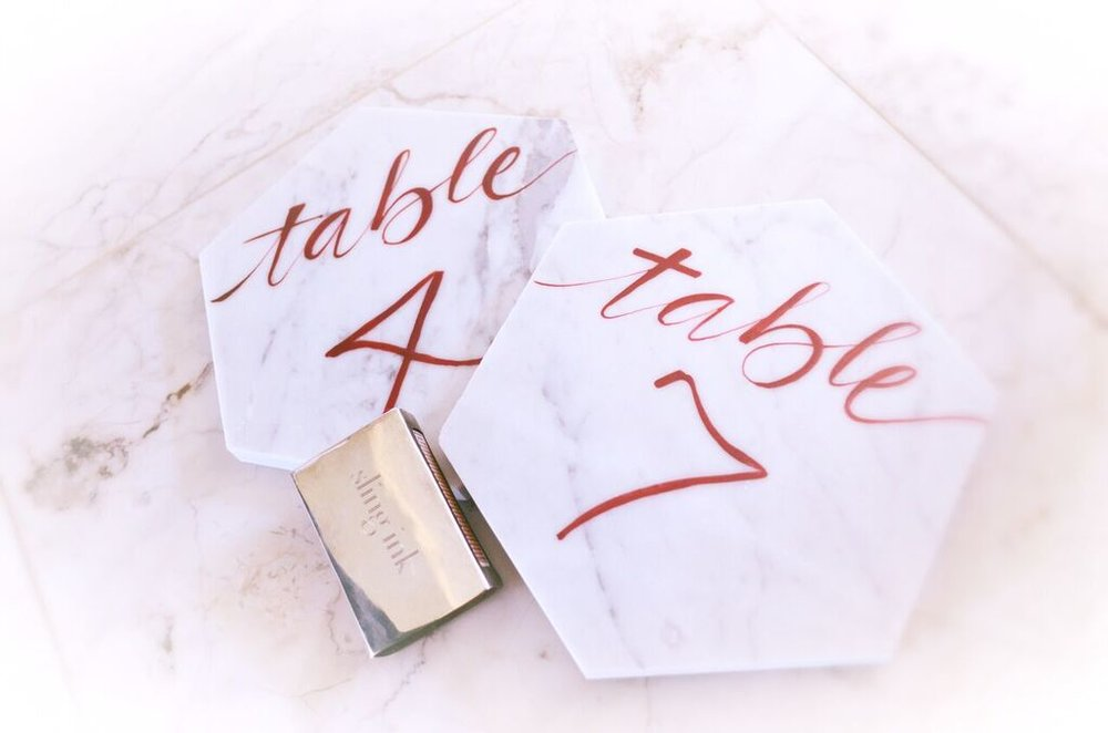 Burgundy red table numbers marble hexagon houston calligraphy -1.jpg