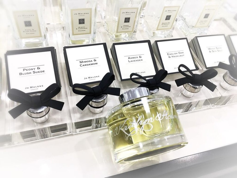 Jo Malone Fragrance Bottle Calligraphy Engraving in Houston - Slinging Ink®