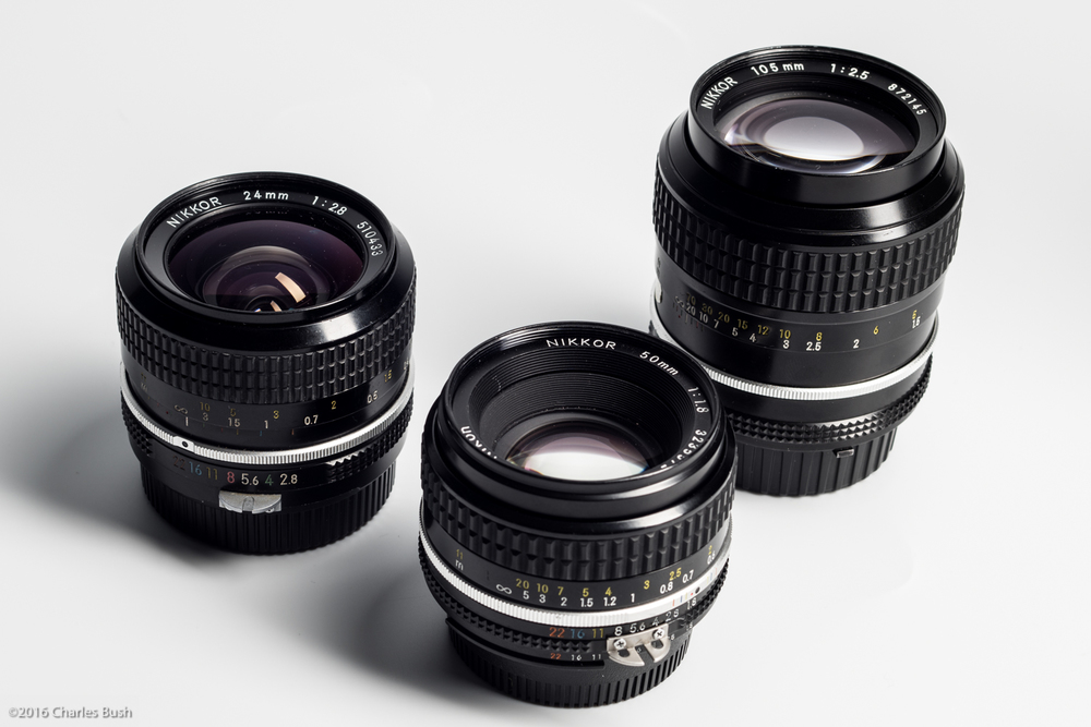 24mm, 50mm, & 105mm Nikon Manual Focus Lenses