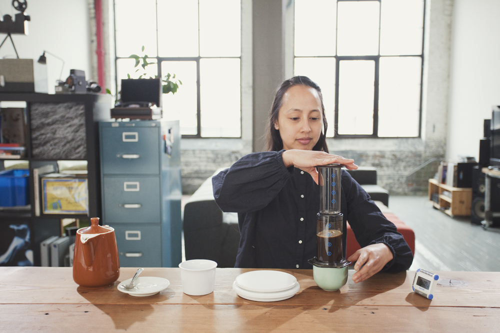 Step 11: Flip the AeroPress Quickly and Carefully with Both Hands — Be Careful!
