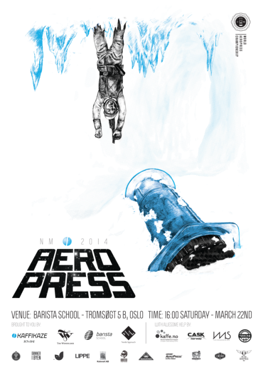 Courtesy of Kaffikaze, a Hoth-themed AeroPress Champ poster for Norway. Oslo probably looks like Hoth in March...