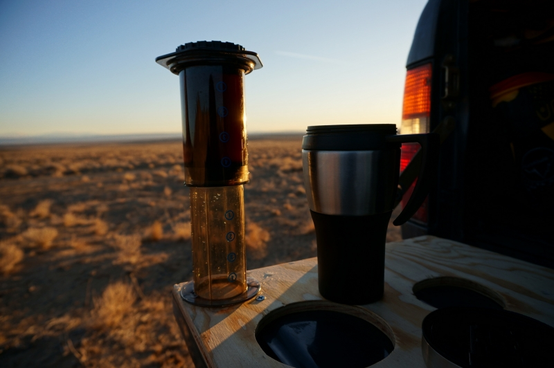 The portability of the Aeropress allows you to make amazing coffee in the middle of nowhere from the back of your truck, as seen in Shiprock, New Mexico.