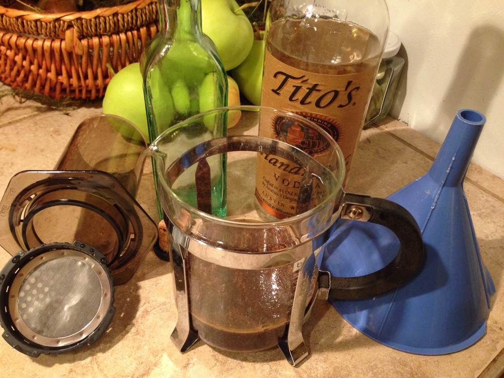 Keeping the Tito's bottle around while you're brewing is optional, but it adds class to the proceedings...