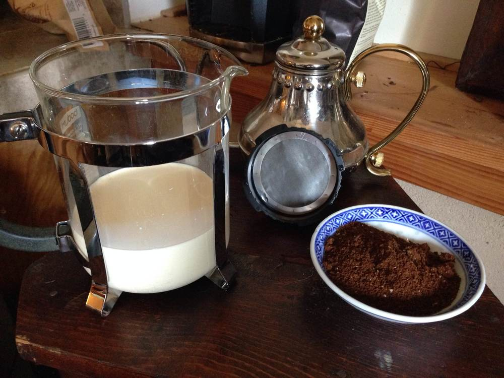 Here's what you need. You can actually use even less milk than this. Also, notice the coffee is fine ground for this recipe.