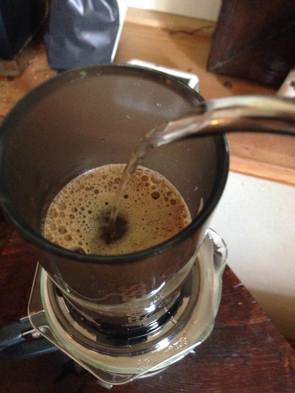 Getting the brew going by adding the rest of that hot water...