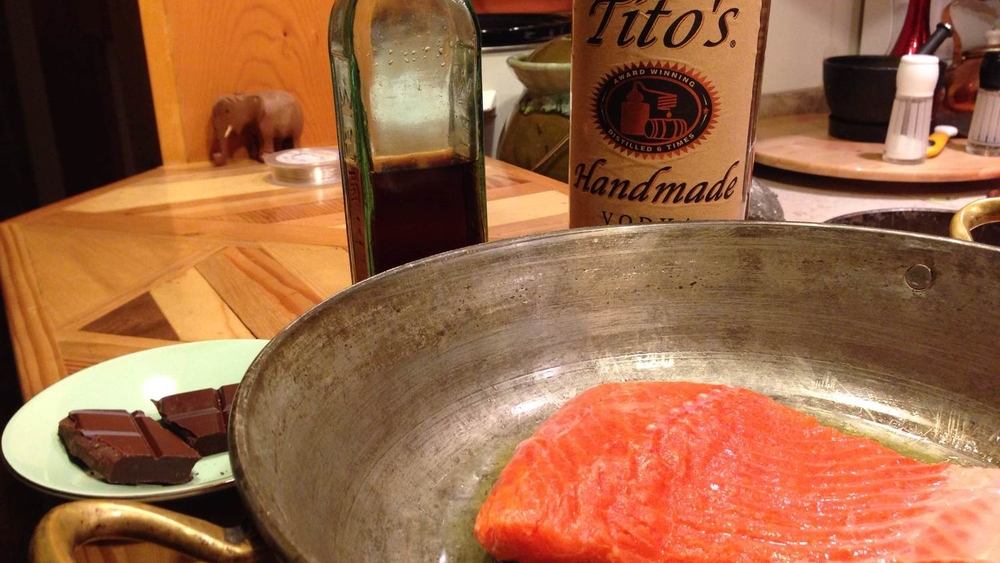 As promised: 8 oz of sockeye salmon, two blocks of chocolate, a bottle of coffee vodka liqueur and vodka