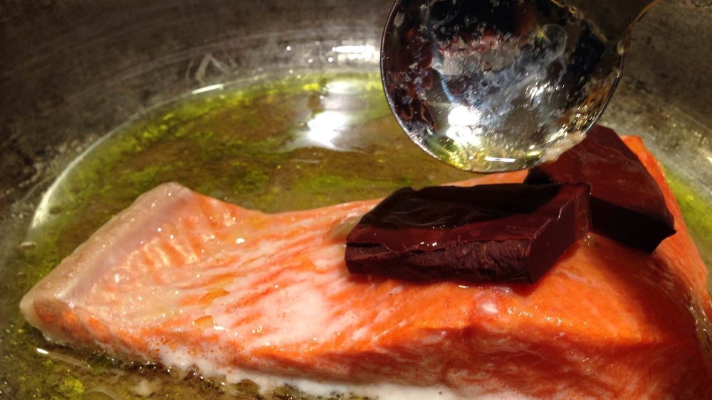 Drizzle that oil back over the chocolate to keep the flavor in the fish.