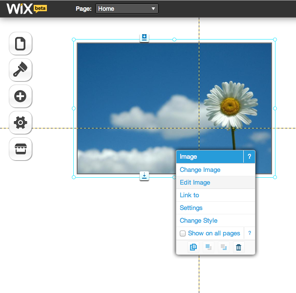 Wix Menu Screen Shot