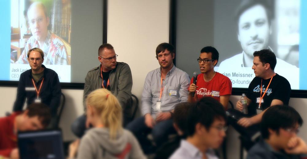 Panel L to R: Brett Wayn (Flickr), Jack Levin (ImageShack), Flo Meissner (EyeEm), Liyan Chang (FilePicker.io), and moderator Avi Muchnick (Aviary) at PHD4.