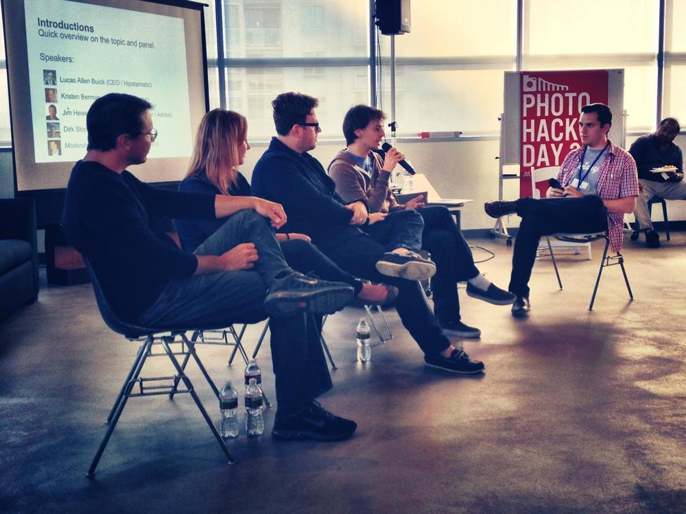 Panel L to R: Jim Heiser (Adobe), Kristen Berman (Lytro), Lucas Buick (Hipstamatic), and Dirk Stoop (Facebook) at PHD3.