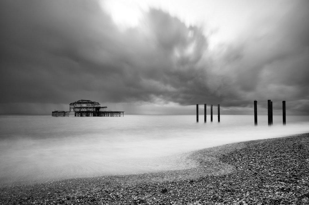 """West Pier"" Novmber, 2016. Brighton, U.K.  Fujifilm XPro1, 14mm, f/16, 28s, ISO 200"