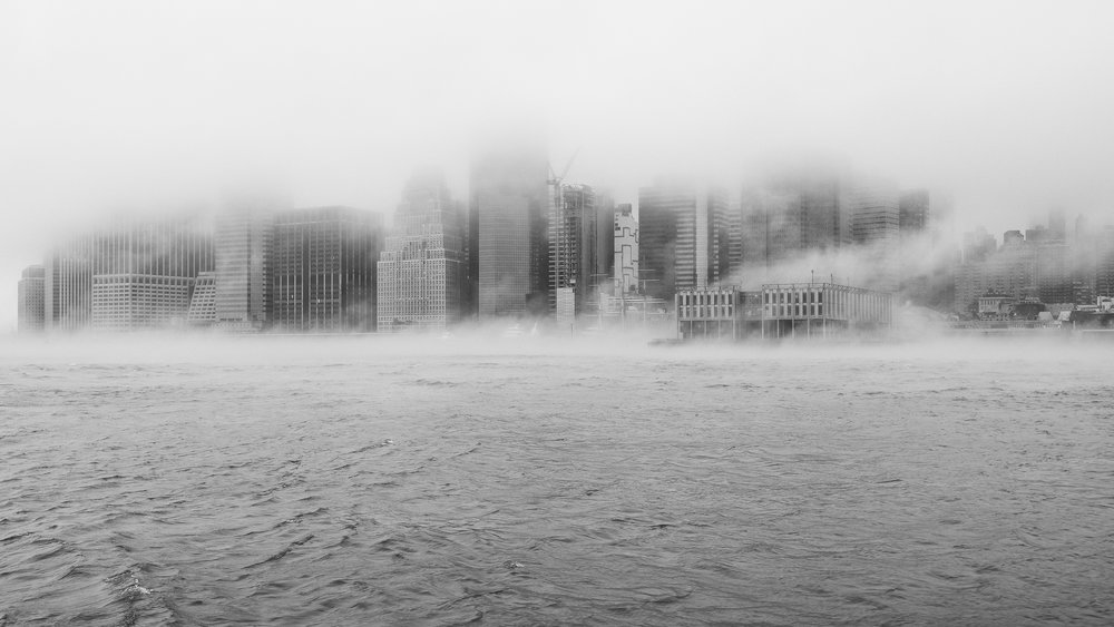 """Smoke on the water"" January 12, 2018. East River, New York City Fujifilm XPro2, 23mm, f/5.6, 1/125, ISO 200    More wild weather, this time during my morning commute aboard the NYC Ferry. The low fog combined with mist on the water to make a fog sandwich.  Mmmm. Fog sandwich."