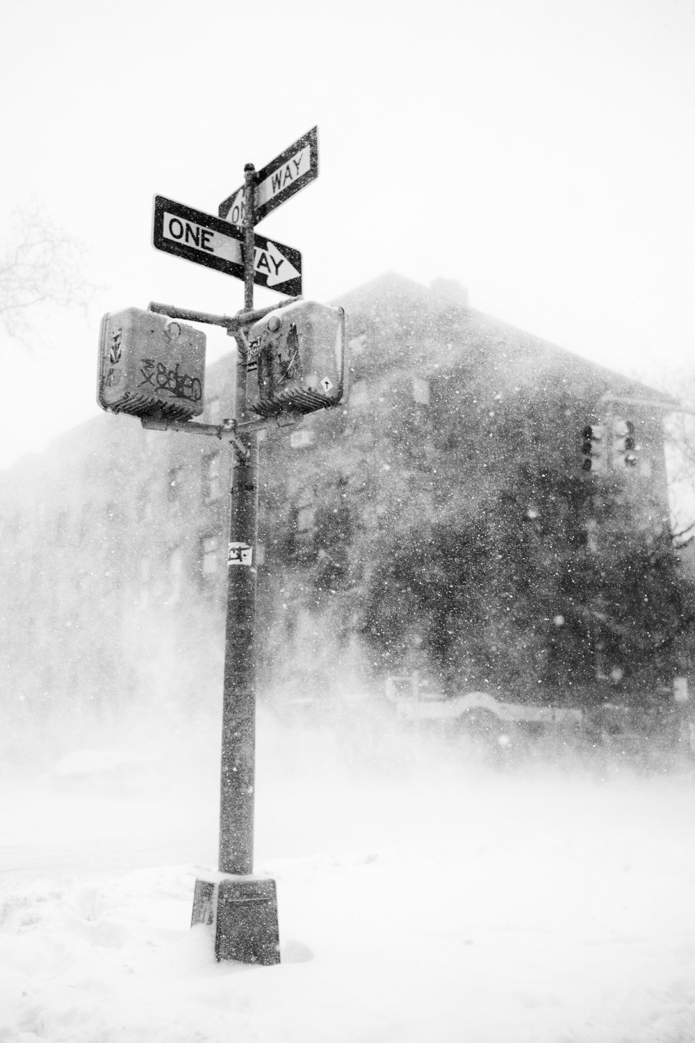 """White out"" January 4, 2018. Carroll Gardens, Brooklyn Fujifilm X Pro2, 23mm, f2.5 , 1/1400 sec, ISO 200   2018 began with a boom, er, bomb. On January 4, a winter storm called a ""bomb cyclone"" (aka ""bombogenesis"", aka ""winter hurricane"") hit New York and made for some apocalyptic snowstorm photos. Tip your seamless delivery guys, people."