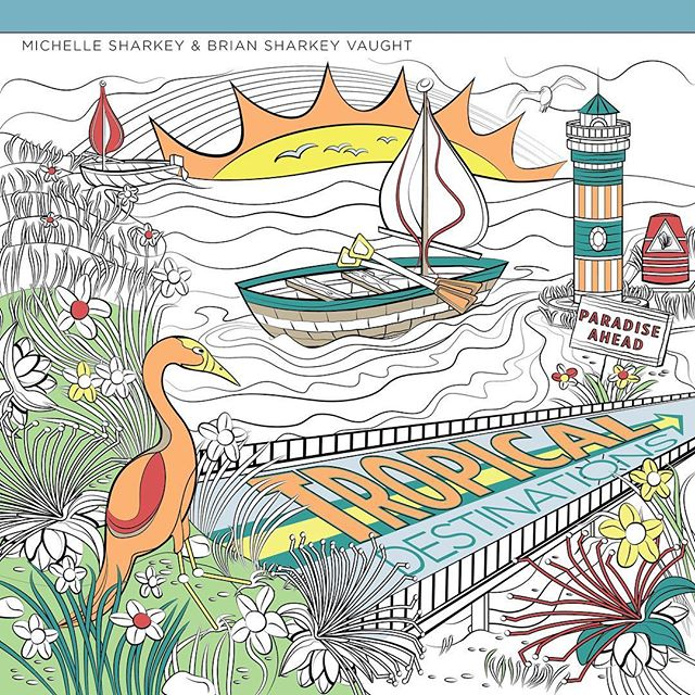 2nd #coloringbook coming out soon!  With @sharkeyartist #coloringbooks #coloring #coloringpages #coloringforadults #art #design #graphicdesign #illustration #adobeillustrator #tropical #ocean #boat